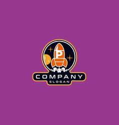Letter p rocket logo design vector