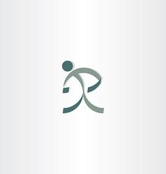 letter r man sign logo design vector image