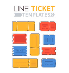Line ticket templates - set elements vector