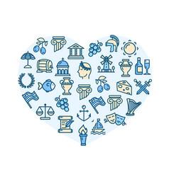 love greece concept heart shape design template vector image