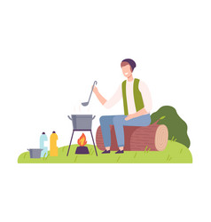 Man camper sitting on log at campsite and boiling vector