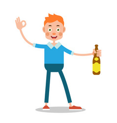 man drinking alcohol celebration concept boy is vector image