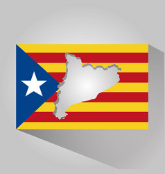 Map of catalonia and flag patriotism long shadow vector