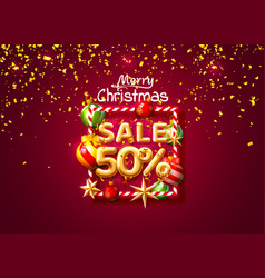 merry christmas sale 50 off ballon number on the vector image