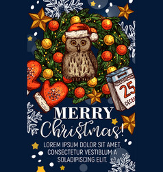 Merry christmas wishes sketch greeting card vector