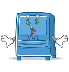 money eye mailbox character cartoon style vector image
