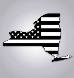 new york ny state shape with usa flag black white vector image