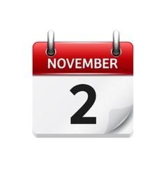 November 2 flat daily calendar icon Date vector
