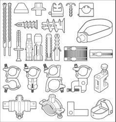 Plugs clamps hangers and drill bits vector