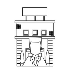 Recepcionist and hotel building black and white vector
