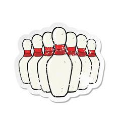 Retro distressed sticker of a cartoon bowling pins vector