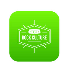 rock culture icon green vector image
