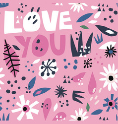 romantic flat hand drawn seamless pattern vector image