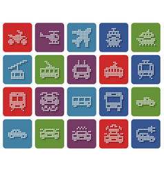 Rounded square dotted icons set some transport vector
