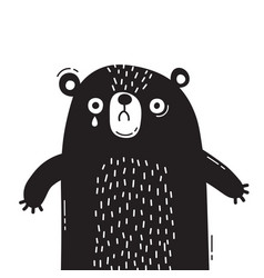 Sad frightened bear cub is crying concept of vector
