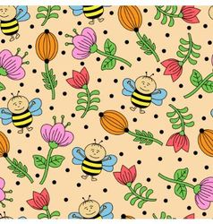 Seamless background with bees and flowers vector