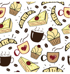 Seamless pattern with cups cakes and croissants vector