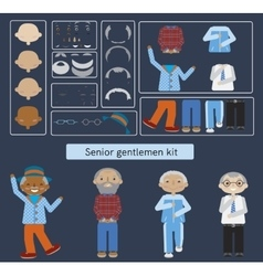 Senior man kit flat constructor vector