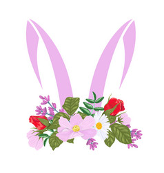 silhouette ears an easter bunny with a vector image