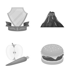 Sports food and other monochrome icon in cartoon vector