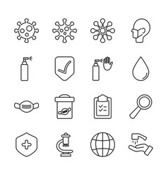 spray can and coronavirus icon set line style vector image