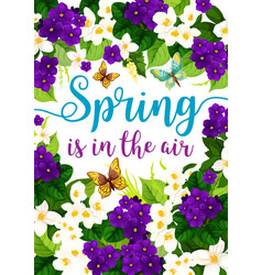Spring holiday flowers floral poster vector
