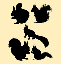 squirrel animal gesture silhouette vector image