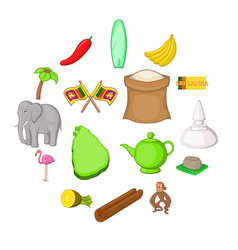 sri lanka travel icons set cartoon style vector image