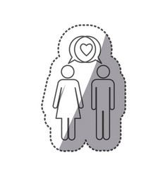 Sticker silhouette pictogram male and female with vector