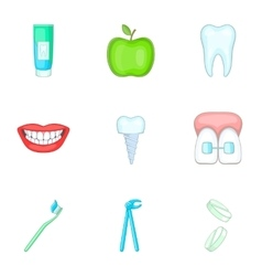 Stomatology icons set cartoon style vector