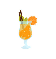summer cocktail with slices of orange and mint vector image