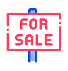 Tablet for real estate sale thin line icon vector
