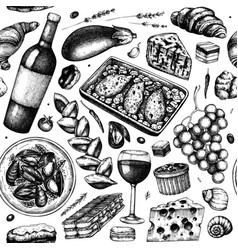 Traditional french food seamless pattern vector