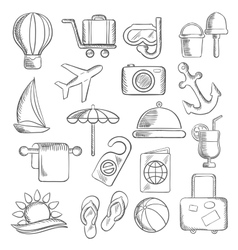 Travel journey and leisure sketch icons vector image