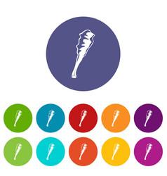 truncheon icons set color vector image
