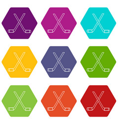 two crossed hockey sticks icons set 9 vector image