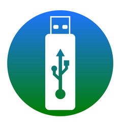 usb flash drive sign white icon in vector image