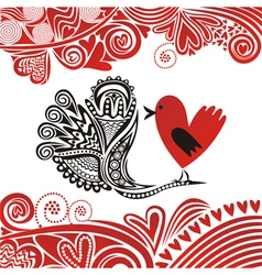 Valentines day card bird hearts vector