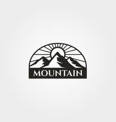 vintage mountain emblem logo design adventure vector image