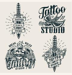 vintage tattoo studio monochrome logos vector image