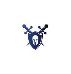 warrior shield and sword protect logo design vector image