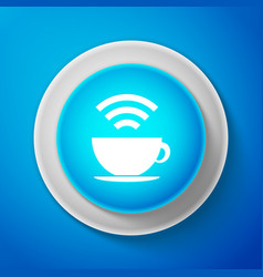 white cup of coffee shop with free wi-fi zone icon vector image