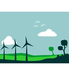 windmill and environment vector image vector image