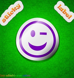 Winking Face icon sign Symbol chic colored sticky vector