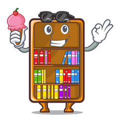 with ice cream cartoon bookcase in the shape wood vector image