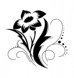 black a white flower pattern vector image vector image