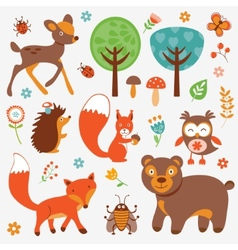 Funny forest animals collection vector image