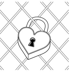 heart shaped lock coloring book vector image vector image