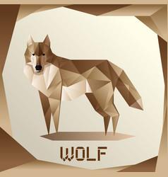 Origami grey wolf vector