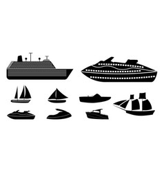 set of different types of boats for recreation and vector image vector image